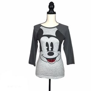 Disney Mickey Mouse 3/4 Sleeve Gray Top T Shirt